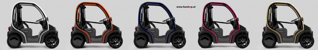 Biro kleines leichtes Elektroauto Farben mit Wechselakku beim Experten für Elektromobilität im FunShop Wien testen und kaufen