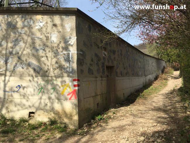 Der FunShop Wien unterwegs mit dem elektrischen Einrad Kingsong KS14 durch den 13 Bezirk der Lainzer Tiergarten Mauer entlang