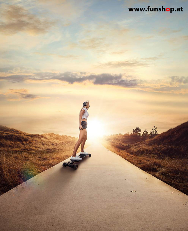 Evolve street and all terrain electric skateboards and longboards with girl buy at FunShop vienna