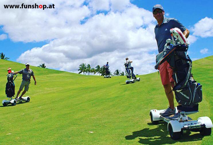 Golfboard der neue elektrische Golf Trolley der Spass am Golfplatz macht im FunShop Wien kaufen testen und probefahren