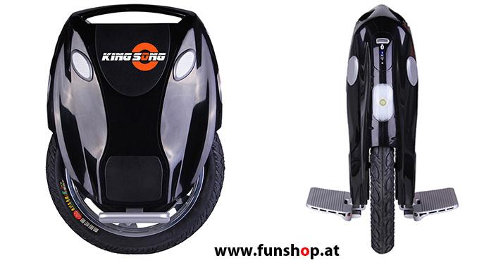 Kingsong KS18 schwarz vorne und Seite im FunShop Wien testen und kaufen