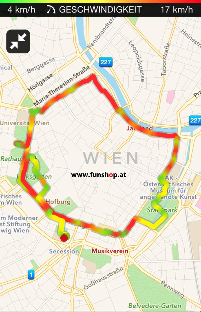 Mit dem elektrischen Einrad Kingsong KS14 in Wien rund um den Ring Plan