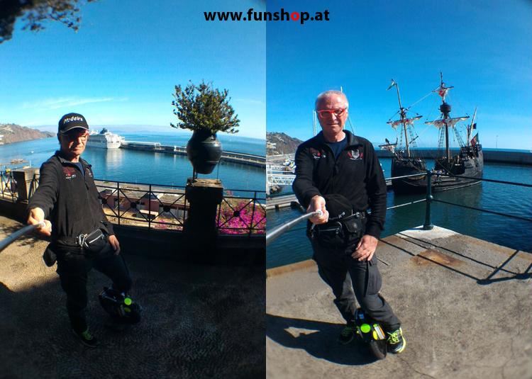 Mit dem elektrischen Einrad auf Madeira Funchal Hafen Schiffe