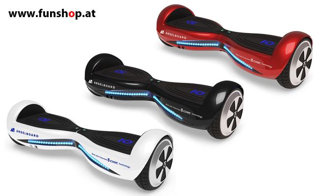 Original IO AngelBoard 2 Hoverboard weiss schwarz rot im FunShop Wien kaufen testen und probefahren