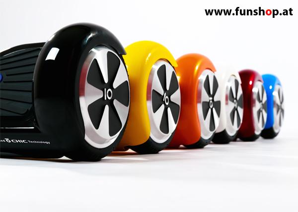Original IO Angelboard Hoverboard schwarz weiss rot orange gelb blau im FunShop Wien testen und kaufen