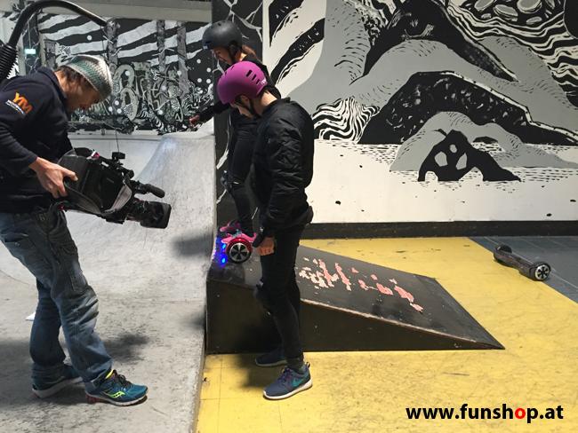 Oxboard und IO Angelboard Hoverboard im FunShop kaufen und testen beim ATV Test mit Andreas Moravec im Bloomfield Leobersdorf SK8 Skate Zone Rampe fahren
