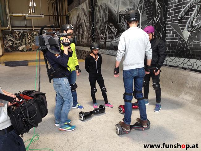 Oxboard und IO Angelboard Hoverboard im FunShop kaufen und testen beim ATV Test mit Andreas Moravec im Bloomfield Leobersdorf SK8 Skate Zone bei der Einschulung
