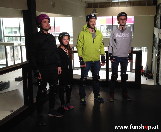 Oxboard und IO Angelboard Hoverboard im FunShop kaufen und testen beim ATV Test mit Andreas Moravec im Bloomfield Leobersdorf SK8 Skate Zone beim Anziehen