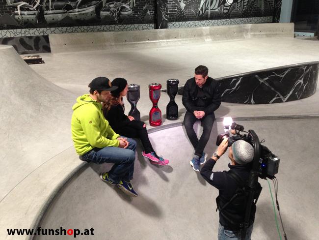 Oxboard und IO Angelboard Hoverboard im FunShop kaufen und testen beim ATV Test mit Andreas Moravec im Bloomfield Leobersdorf SK8 Skate Zone beim Interview