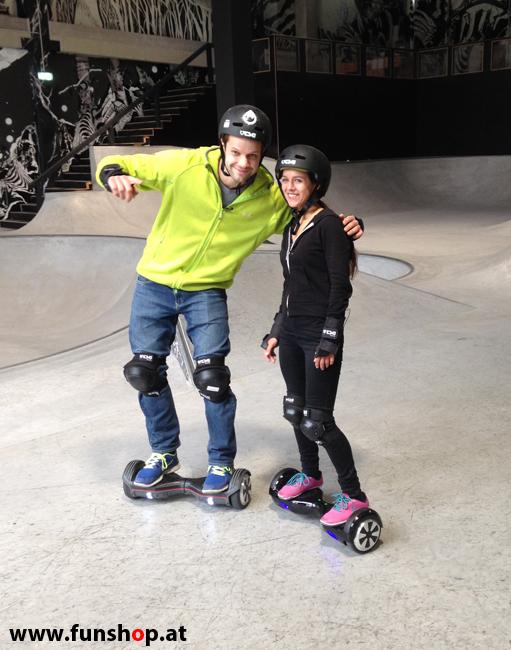 Oxboard und IO Angelboard Hoverboard im FunShop kaufen und testen beim ATV Test mit Andreas Moravec im Bloomfield Leobersdorf SK8 Skate Zone erste Fahrversuche 7