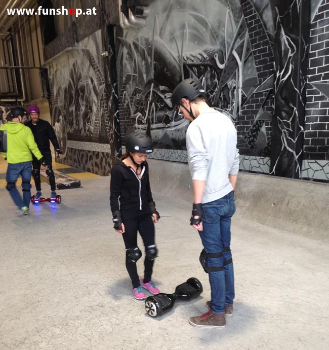 Oxboard und IO Angelboard Hoverboard im FunShop kaufen und testen beim ATV Test mit Andreas Moravec im Bloomfield Leobersdorf SK8 Skate Zone erste Fahrversuche