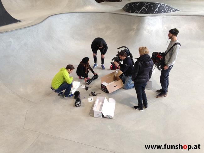 Oxboard und IO Angelboard Hoverboard im FunShop kaufen und testen beim ATV Test mit Andreas Moravec im Bloomfield Leobersdorf SK8 Skate Zone mehr Geschenke