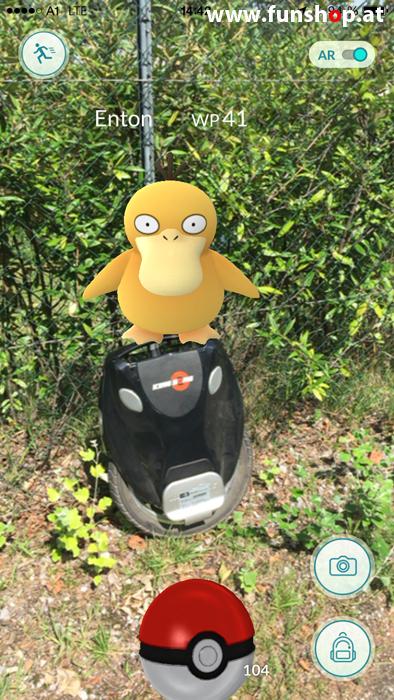 Pokémon Go mit einem elektrischen Einrad von Kingsong Ninebot Inmotion Monowheel Airwheel Solowheel Onewheel Angelboard Hoverboard Oxboard Segway GotWay spielen und Enton finden