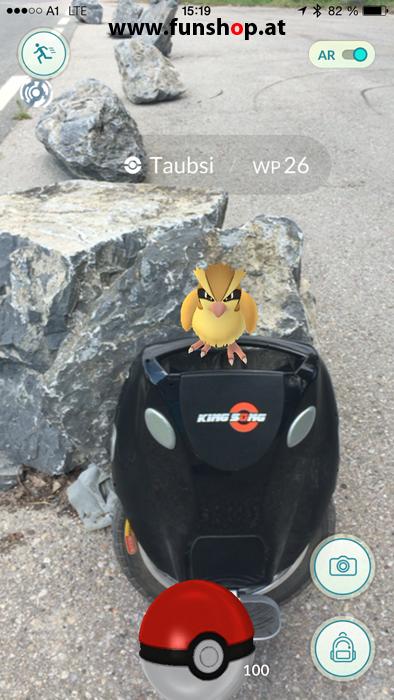 Pokémon Go mit einem elektrischen Einrad von Kingsong Ninebot Inmotion Monowheel Airwheel Solowheel Onewheel Angelboard Hoverboard Oxboard Segway GotWay spielen und Taubsi finden