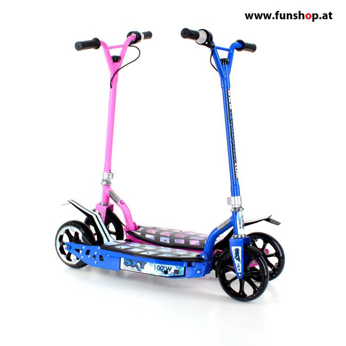 SXT100 elektrischer Kinderscooter in blau und pink im FunShop Wien kaufen testen und probefahren