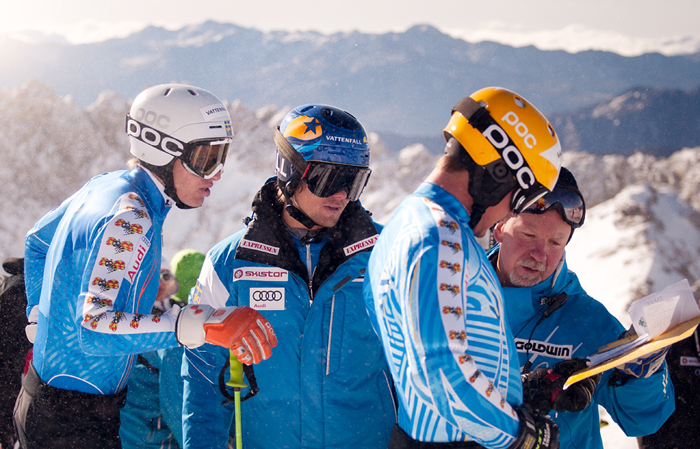 Ski alpine team Sweden using POC helmets and googles
