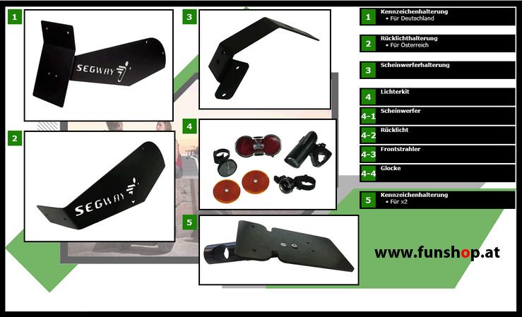 Zubehör und Ersatzteile accessories and spare parts Segway i2 x2 Anbauteile beim Experten für Elektromobilität im FunShop Wien kaufen