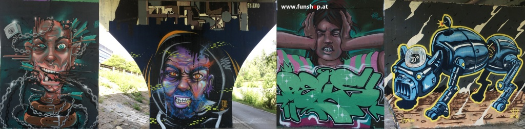 graffiti-tulln-danube-cycle-Klosterneuburg-electric-unicycle-tour-Donaukanal-Donauinsel-Kingsong-KS18-FunShop-vienna-austria